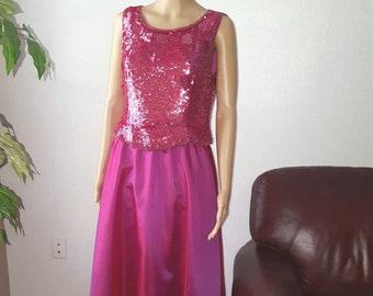 55d6d95415d ADRIANNA PAPELL Evening Essentials, Formal 2 pieces Dress, Pink Skirt and  Sequin Top, Vintage Evening Formal Dress