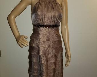 6483d441 Adrianna Papell Beaded Bronze Cocktail Dress, Size 6, Shimmer Dress