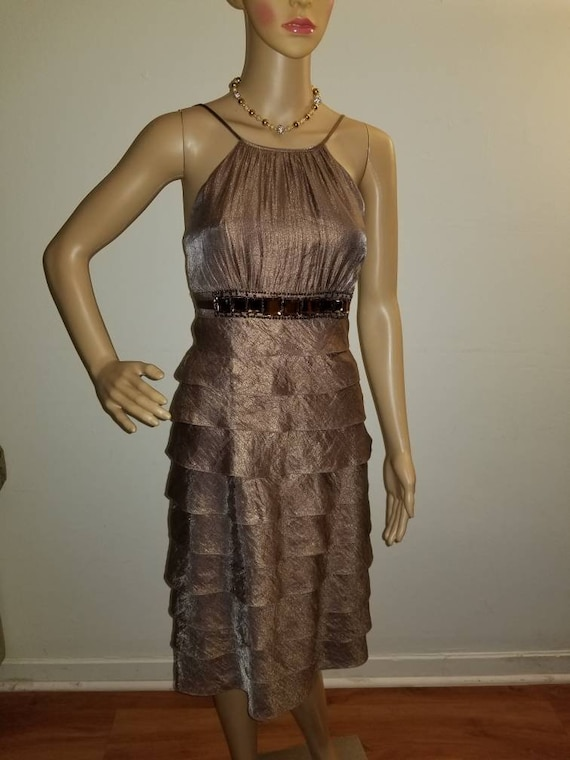 1f0d6be3d62df Adrianna Papell Beaded Bronze Cocktail Dress Size 6 Shimmer | Etsy