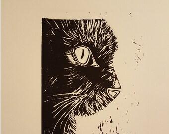 Zwarte kat - Linoleum originele hand getrokken reliëf Print - USA gratis verzending