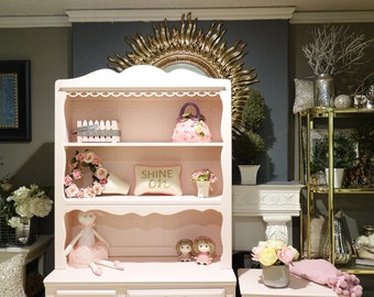 Blush Pink Desk and Nightstand w/ Hutch & Gold Drawer Pulls