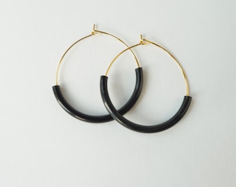 Gold and Black Hoops-