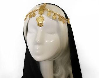 Marwa —Coin Headpiece, headchain, crown, tiara, tribal, headband