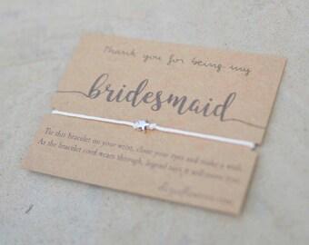 Rustic Bridesmaid Wish Bracelet, Make a Wish Bracelet, Bridesmaid Gift, Gift Bracelet and Card, Bridesmaid Proposal, String Bracelet