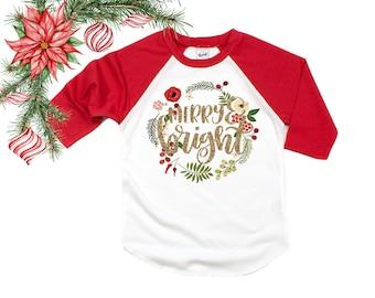 669de1a8f Merry & Bright - Girls' Christmas Shirts - Girls' Holiday Shirts - Glitter  Christmas - Cute Holiday Shirts - Christmas Wreath - Girls' Shirt