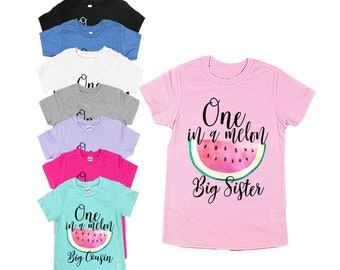 64cc8dd92 One in a Melon Sister Shirts - Unisex Kids Shirt - Birthday Shirt for  Sister - Watermelon Theme Birthday Shirts - First Birthday - Melon
