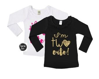 ff21fa3b I'm Two Cute - Ruffle Collar Long Sleeve Girls' Tee - 2nd Birthday Shirt -  Two year old - Two cute - toddler girl - birthday shirts