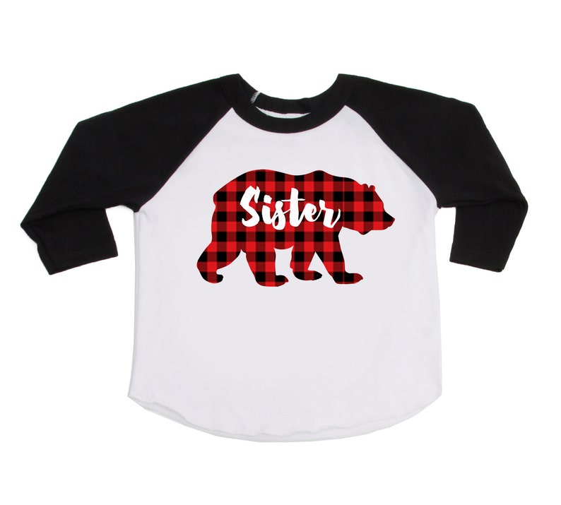 471d7f48034ea Sister Bear Shirt Buffalo Plaid Bear Shirt Lumberjack   Etsy