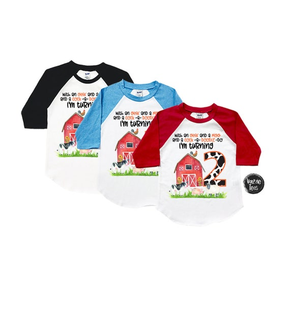 Two Year Old Birthday Shirt Farm Theme Moo