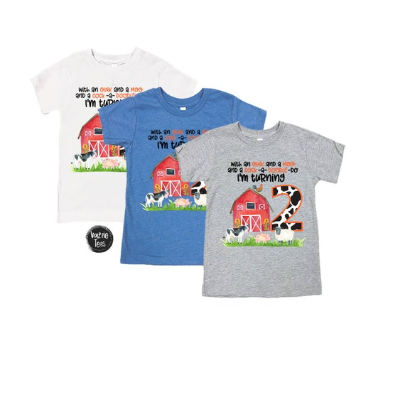 Two Year Old Birthday Shirt Farm Theme