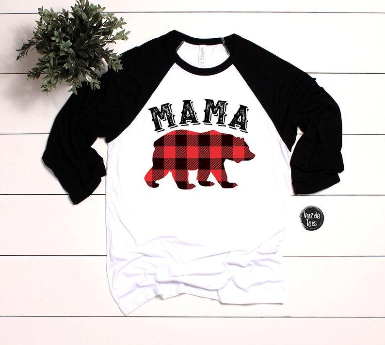 90dcddb8 Mama Bear Shirts Buffalo Plaid Bear Mom Shirts Matching | Etsy