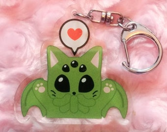 Cthulhu inspired Cat-thulhu acrylic keychain, Lovecraft monster kitten key chain, Creepy cute stocking stuffer