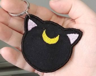 Sailor Moon Luna Embroidery Keychain, Artemis Key chain, Embroidered Cat Keychain, Stocking stuffer