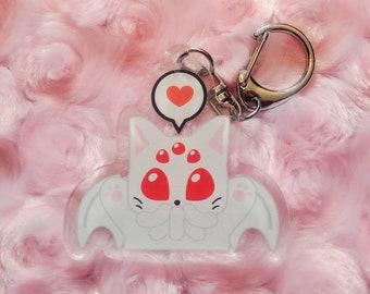 Cthulhu inspired Albino Cat-thulhu acrylic keychain, Lovecraft monster kitten key chain, Creepy cute stocking stuffer