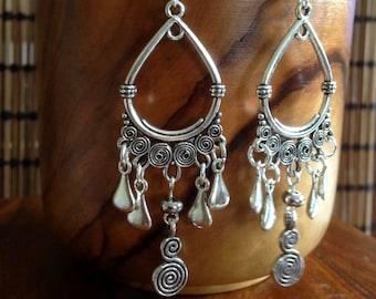 Boho Long Drop Dangle Tribal Hoop Earrings Spiral Bohemian Gypsy Ethnic Festival Hypoallergenic Sterling Silver UK