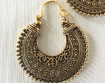 Antique Gold Earrings, Hoop, Tribal, Boho, Ethnic, Bohemian, Gypsy, Festival