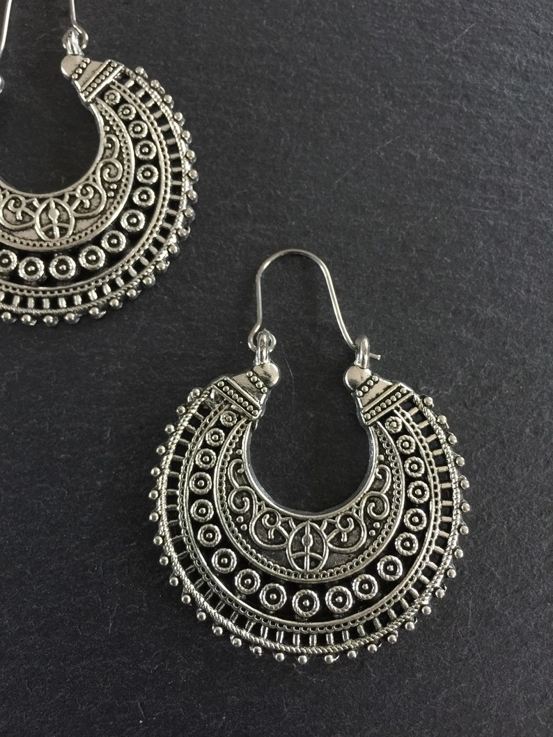 Ethnic Earrings Tribal Boho Bohemian Gypsy Silver image 0
