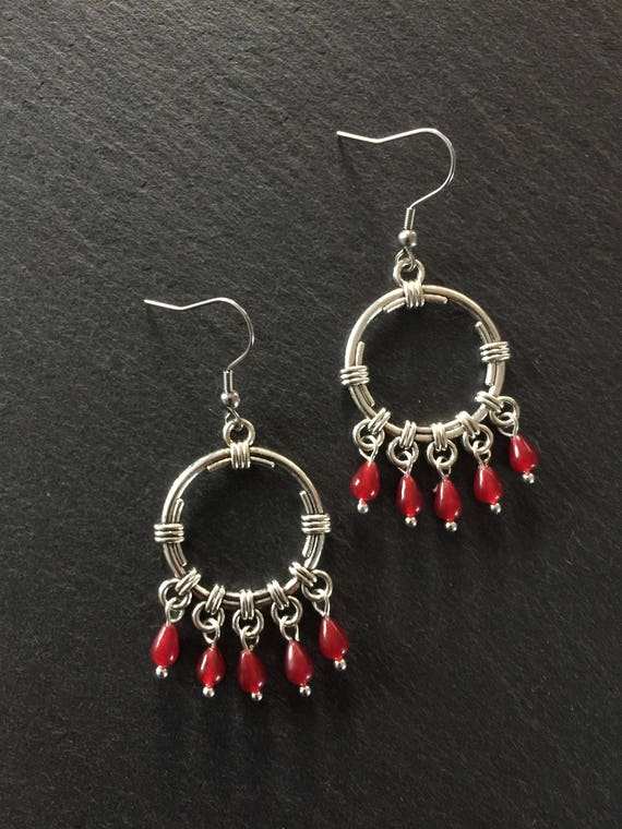 Beautiufl New Red Ruby Larme en Forme De Boucles D/'oreilles