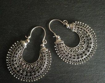 Tribal earrings, Boho Earrings, Ethnic earrings, Bohemian earrings, Gypsy earrings, Silver dangle earrings
