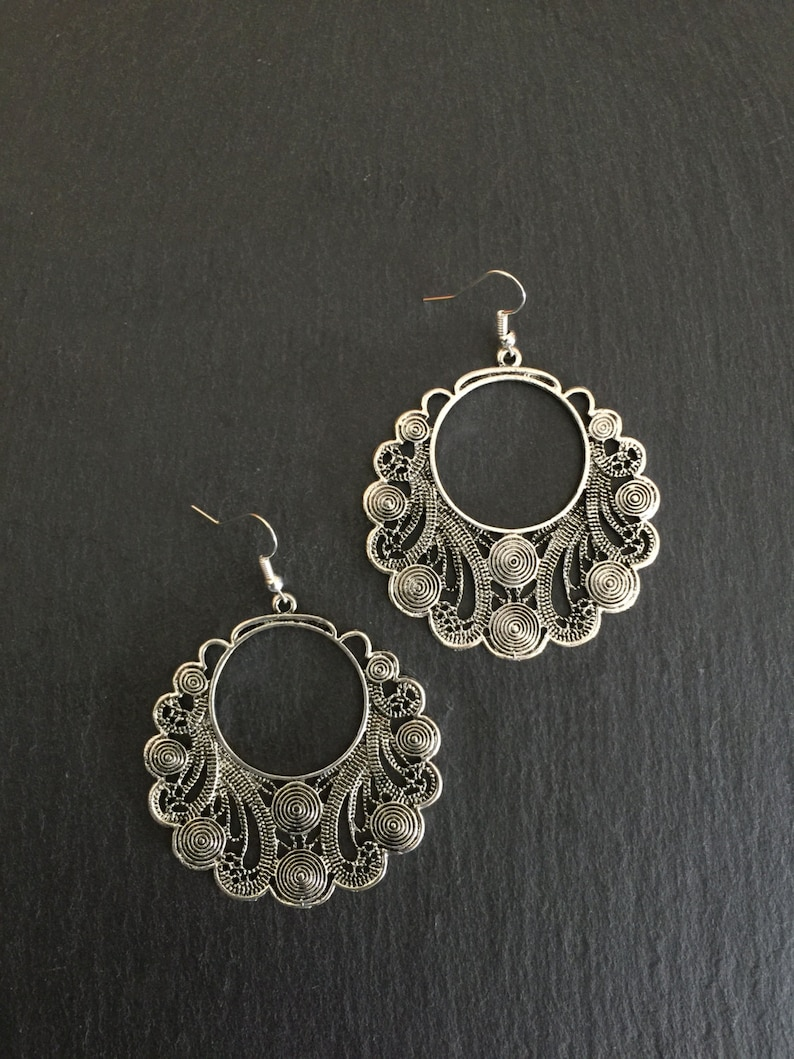 Bohemian Festival Tribal Large Vintage Style Silver Boho Earrings Mandala Gypsy Hypoallergenic Sterling Silver UK Ethnic