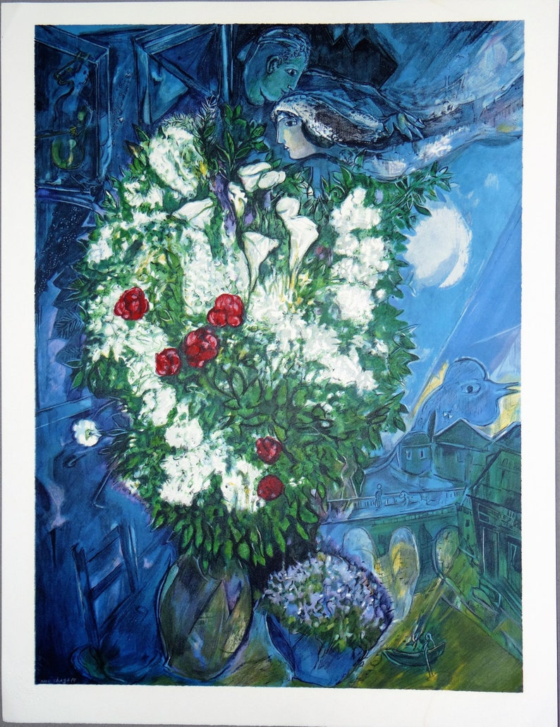 Marc Chagall lithograph bouquet of flying lovers fusion of image 0
