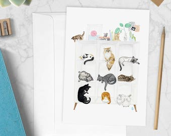Cat storage - greeting card - watercolor illustration - cat lover