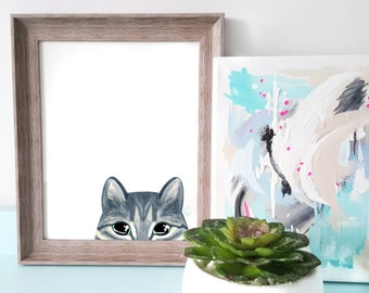 Cat peeking - 8x10 inches - watercolor illustration - cat lover - tabby - wall art