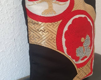 Cushion cover upcycled Japanese Vintage Kimono Obi Matsu Tree