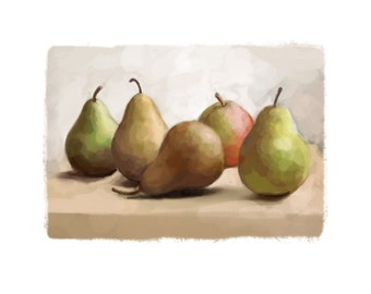 digital downloadable print of a gouache and watercolor painting of pears on a table, kitchen art, printable JPEG