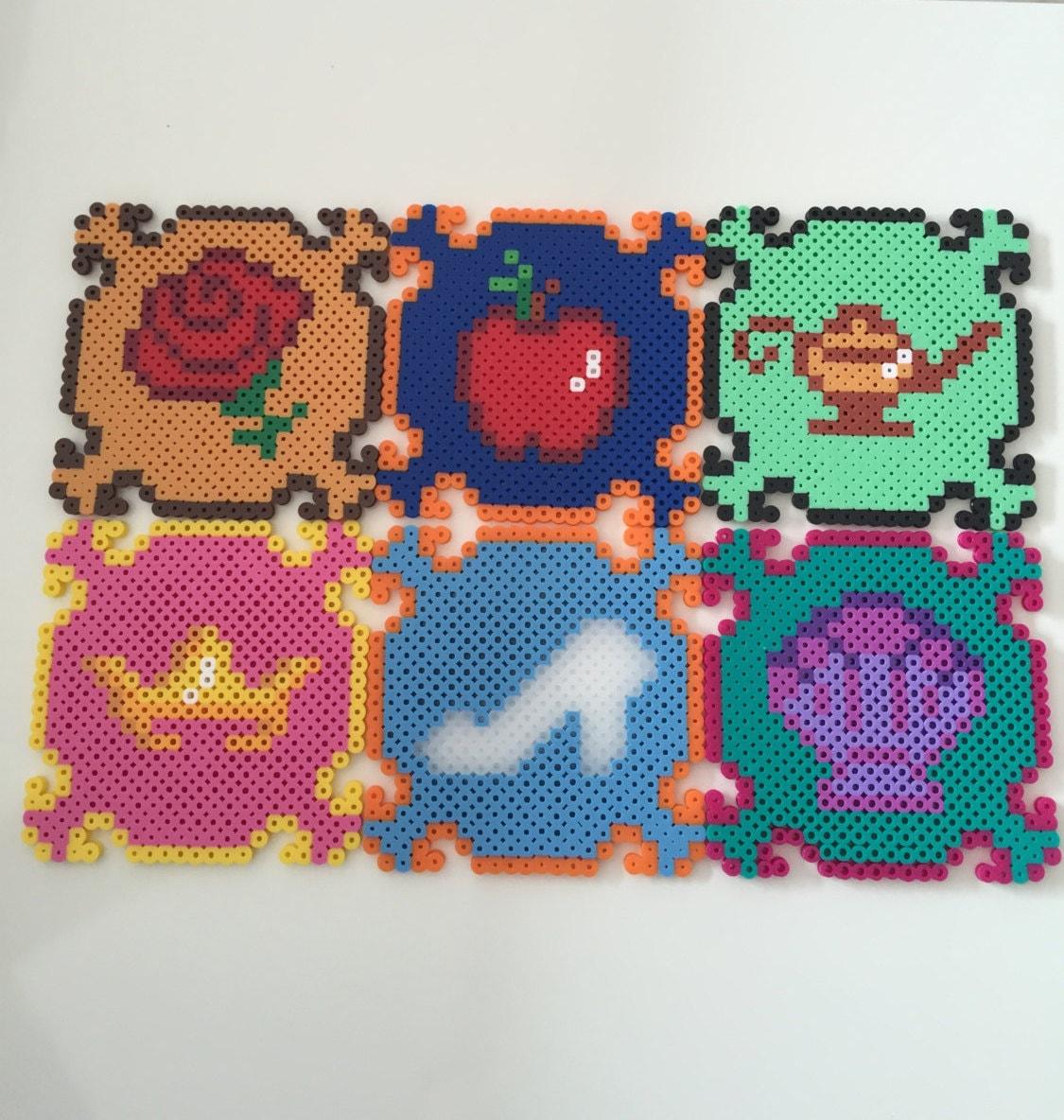 Princess Beads: Disney Princess Perler Bead Coasters Set Of 6