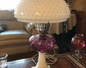 Fenton milk glass and cranberry lamp