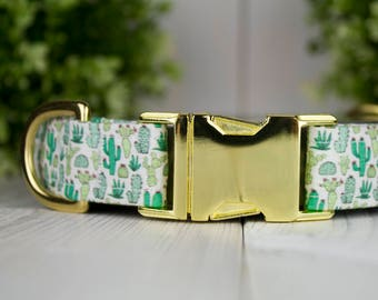 Cactus adjustable Dog Collar with Metal Buckle