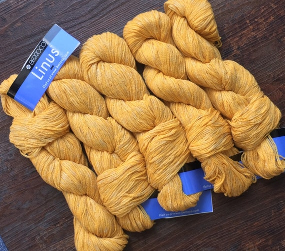 Berroco LINUS 6812 Gold - 7 75 +Free Linus Patterns - 159 Yds Yellow  Acrylic Linen Rayon Sheer Ribbon Yarn - MSRP 10 50