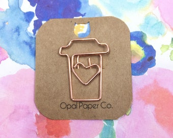 Rose Gold Coffee Cup Paper Clip