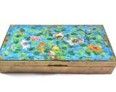 Brass and Enamel Cigarette Box Cedar Lined Floral Design Table Top Desk Top Tobacciana Vintage