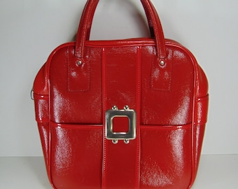 Vintage Shiny Fire Engine Red Travel Bag, Carry on Bag, Overnight Bag, Weekender Bag