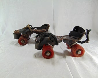 Vintage Rustic Metal Adjustable Roller Skates