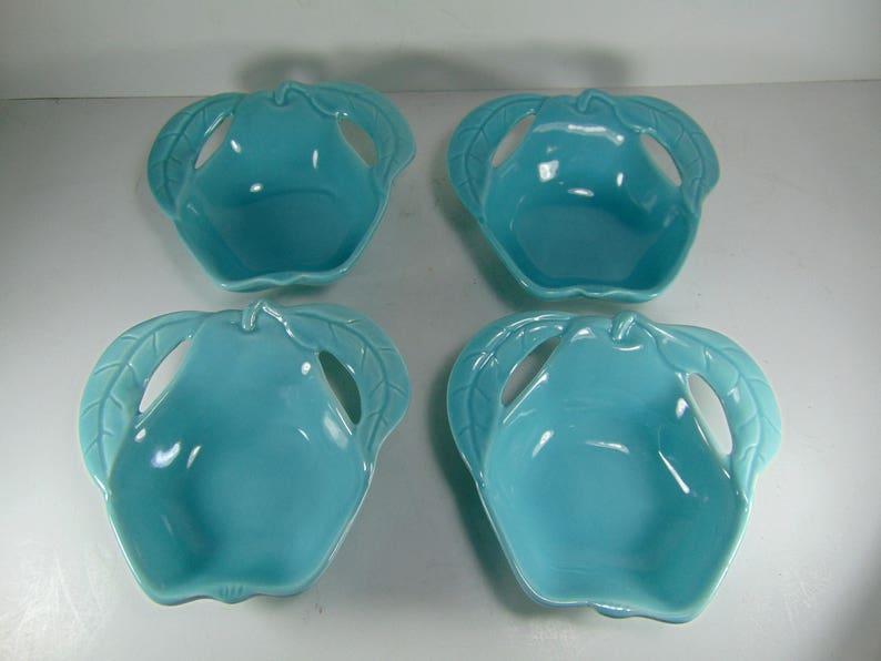 Enchanto California Potteries Turquoise Pear Shaped Dish, Candy Dish, Nut  Dish - Set of 4