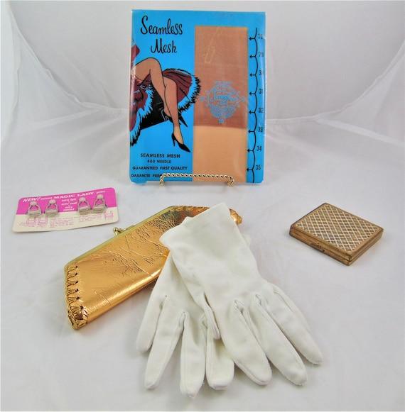Vintage Women's Lot , Seamless Nylons, Garter Clip