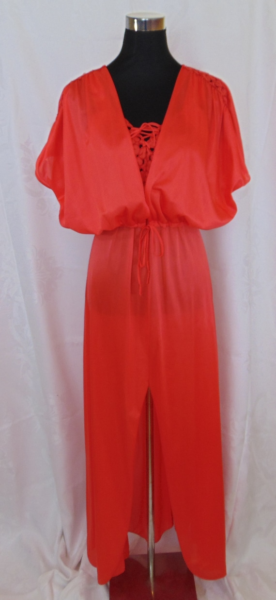 Vintage Orange 1970's Full Length Peignoir Set, Ni