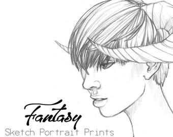 Fantasy Sketch Portrait Pack (2 Prints)