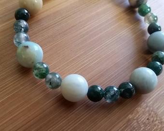 Moss Agate + Glass Bracelet