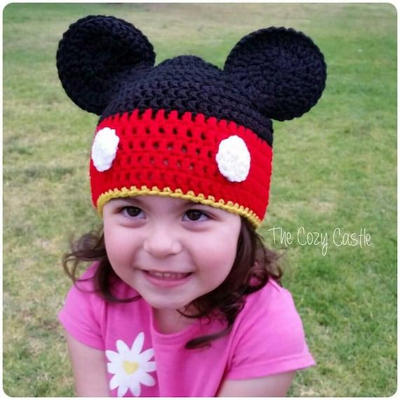 Micky Maus Mütze / Hut Disney Charakter Hut gehäkelt | Etsy
