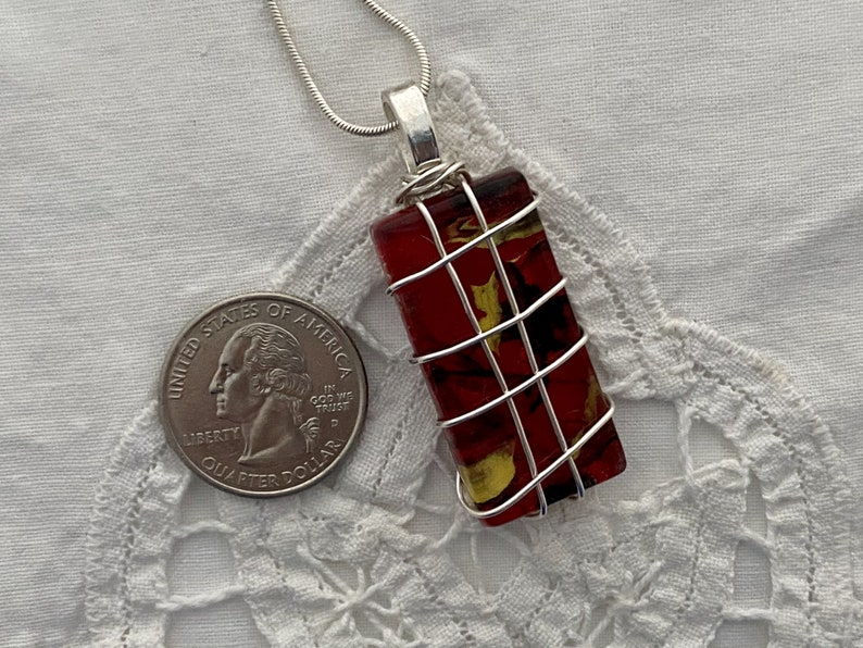Silver Red and Black Glass Necklace Rectangle Coffee Filter Art Wearable Art Wire Wrapped Wire Wrapped Red Glass Tile Pendant Unique