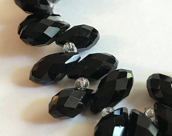 100 Black tear drop faceted glass bead 6x12mm, faceted glass beads, 920a