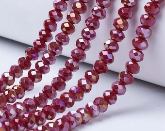 100 Dark Red AB Rondelle Beads 6mm 8mm