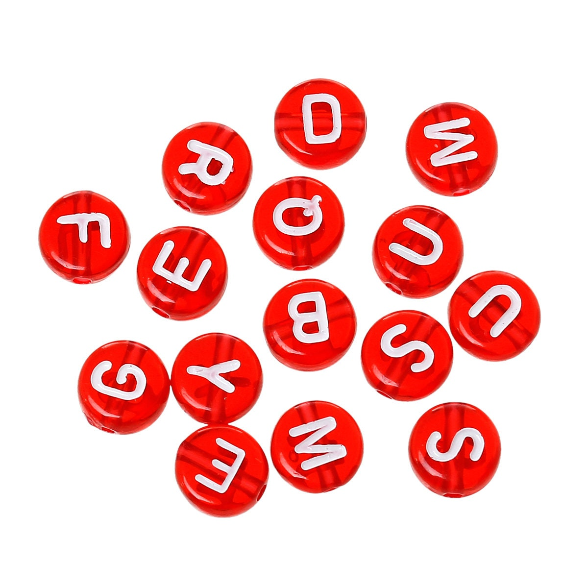 Red & White Alphabet Beads, 7mm Acrylic letter beads, ABC