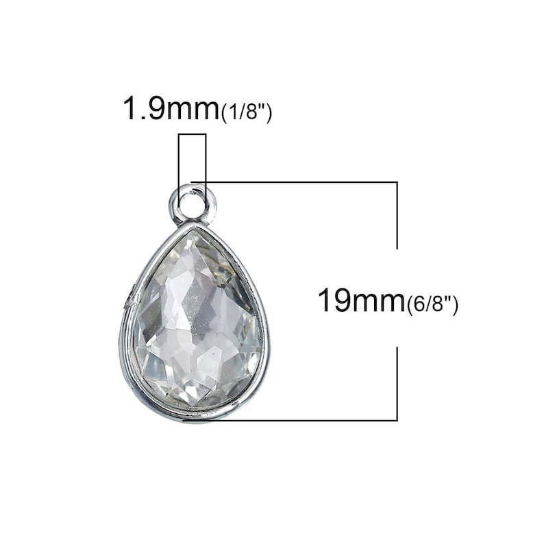 April Birthstone Faceted Charm Pendants 5753