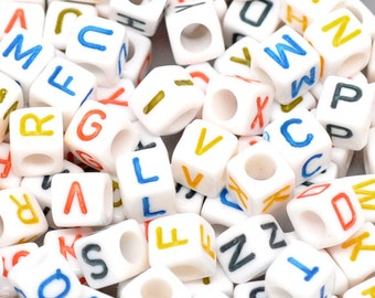 Letter A-Z Acrylic Cube Beads 6x6mm, 500 Acrylic Alphabet Beads, Plastic letter beads, Cubed letter beads, Personalized jewelry, L567