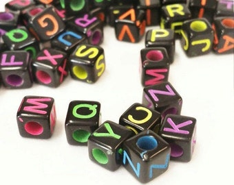500 6mm cube letter alphabet beads, Large letter beads, 6mm cube beads, letter square beads, ABC letter beads, Name beads, 8352